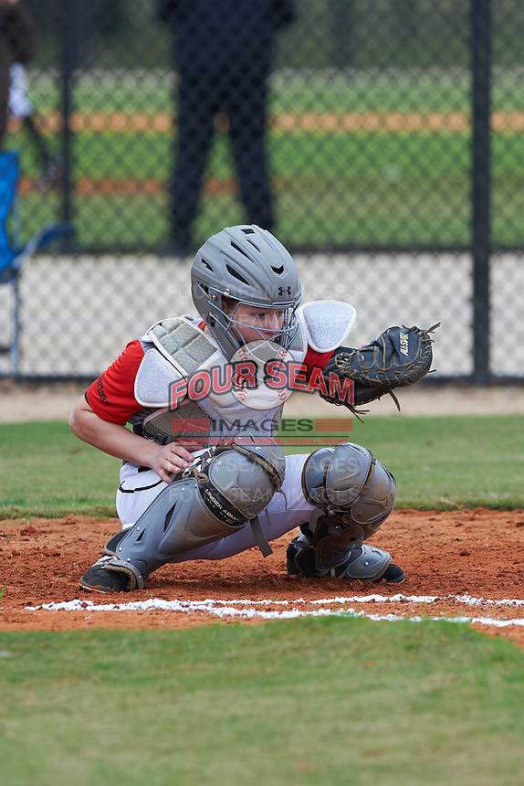 Mac McCommons (1) of Greensboro, Georgia during the Baseball Factory All-America Pre-Season Rookie Tournament, powered by Under Armour, on January 13, 2018 at Lake Myrtle Sports Complex in Auburndale, Florida.  (Michael Johnson/Four Seam Images)