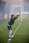 Leeds United Ladies 1 Nottingham Forest Ladies 1, 13/11/2011. Throstle Nest, FA Premier League National Division. Leeds United Ladies FC goalkeeper Jules Draycott pictured during a pre-match warm-up routine at the Throstle Nest, Farsley, West Yorkshire, on the day her club played host to Nottingham Forest Ladies FC in an FA Premier League National Division fixture. The match ended in a one-all draw, watched by fewer than 50 spectators at the club's regular home ground. Formed in 1989, Leeds United Ladies has been one of England's top women's sides for most of the last ten years and played in the top winter league for ladies' teams. Photo by Colin McPherson.