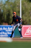 Detroit Tigers shortstop Willi Castro (49) during a Grapefruit League Spring Training game against the Baltimore Orioles on March 3, 2019 at Ed Smith Stadium in Sarasota, Florida.  Baltimore defeated Detroit 7-5.  (Mike Janes/Four Seam Images)