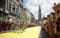 yellow carpet for 2014 Tour winner Vincenzo Nibali (ITA/Astana) coming form the start podium underneath the Antwerp cathedral<br /> <br /> stage 3: Antwerpen (BEL) - Huy (BEL)<br /> 2015 Tour de France