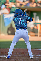 Ramon Rodriguez (7) of the Ogden Raptors at bat against the Rocky Mountain Vibes at Lindquist Field on July 19, 2019 in Ogden, Utah. The Raptors defeated the Vibes 9-5. (Stephen Smith/Four Seam Images)