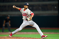 Peoria Chiefs pitcher Enmanuel Solano (32) during a game against the Beloit Snappers on August 18, 2021 at ABC Supply Stadium in Beloit, Wisconsin.  (Mike Janes/Four Seam Images)