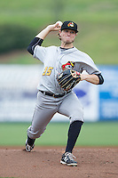 West Virginia Power starting pitcher Buddy Borden (35) in action against the Kannapolis Intimidators at CMC-Northeast Stadium on April 29, 2014 in Kannapolis, North Carolina.  The Intimidators defeated the Power 1-0.  (Brian Westerholt/Four Seam Images)