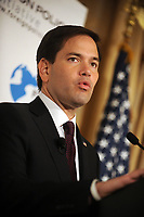 NEW YORK, NY - AUGUST 14: Marco Rubio gives speech for the Foreign Policy Initiative at 3 West Club on August 14, 2015 in New York City.<br /> <br /> <br /> People:  Marco Rubio