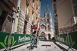Luxembourg Champion Kévin Geniets (LUX) Groupama-FDJ recons Stage 1 of La Vuelta d'Espana 2021, a 7.1km individual time trial around Burgos, Spain. 14th August 2021. <br /> Picture: Unipublic/Charly Lopez | Cyclefile<br /> <br /> All photos usage must carry mandatory copyright credit (© Cyclefile | Unipublic/Charly Lopez)