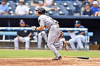 Augusta GreenJackets right fielder Logan Baldwin (1) runs to first base during a game against the Asheville Tourists at McCormick Field on August 19, 2018 in Asheville, North Carolina. The Tourists defeated the GreenJackets 6-3. (Tony Farlow/Four Seam Images)