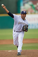 San Antonio Missions pitcher Zach Segovia (38) delivers a pitch to the plate during the Texas League baseball game against the Corpus Christi Hooks on May 10, 2015 at Nelson Wolff Stadium in San Antonio, Texas. The Missions defeated the Hooks 6-5. (Andrew Woolley/Four Seam Images)