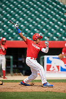Emmanuel Rodriguez (13) hits a home run during the Dominican Prospect League Elite Underclass International Series, powered by Baseball Factory, on August 1, 2017 at Silver Cross Field in Joliet, Illinois.  (Mike Janes/Four Seam Images)