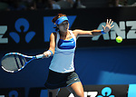 Januaary 27, 2010.Na Li of China, in action, defeating the USA's Venus Williams, 2-6, 7-6, 7-5 in the quarter final of the Australian Open, Melbourne Park, Melbourne, Australia..