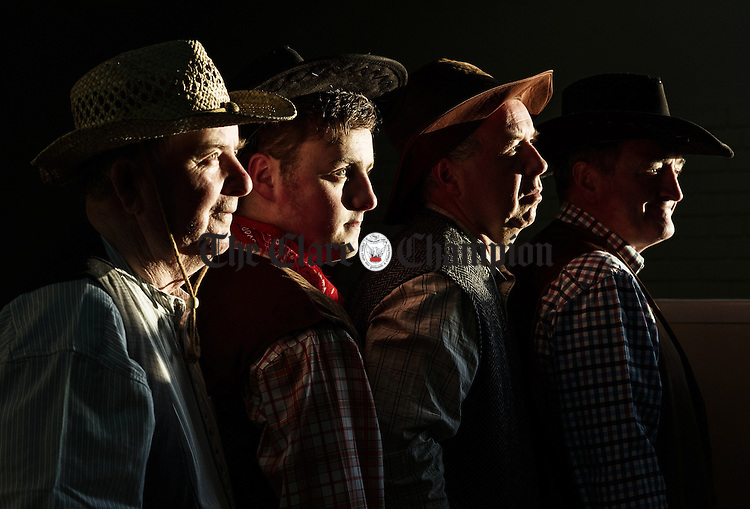 John Vaughan, Ryan Doyle, John Haren and Denis Creedon in rehearsals for Ennistymon Choral Society's production of  'Oklahoma' which runs from Wed April 9th  to Sunday 13th in Seaworld Hall, Lahinch. Photograph by John Kelly.