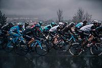 peloton in the rain<br /> <br /> 76th Paris-Nice 2018<br /> Stage 8: Nice > Nice (110km)