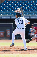 Peoria Javelinas third baseman Hudson Potts (13), of the San Diego Padres organization, at bat during an Arizona Fall League game against the Scottsdale Scorpions at Peoria Sports Complex on October 18, 2018 in Peoria, Arizona. Scottsdale defeated Peoria 8-0. (Zachary Lucy/Four Seam Images)