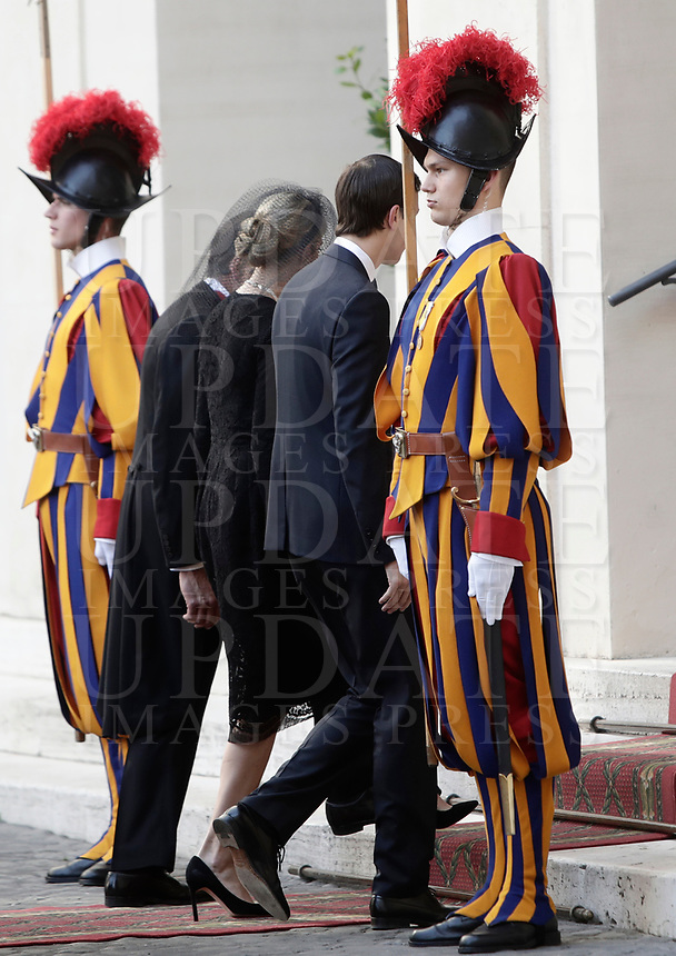 Ivanka Trump and his husband Jared Kushner arrive at the San Damaso courtyard for a private audience with Pope Francis, at the Vatican, May 24, 2017.<br /> UPDATE IMAGES PRESS/Isabella Bonotto<br /> STRICTLY ONLY FOR EDITORIAL USE