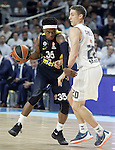 Real Madrid's Jaycee Carroll (r) and Fenerbahce Istambul's Bobby Dixon during Euroleague Quarter-Finals 3rd match. April 19,2016. (ALTERPHOTOS/Acero)