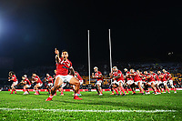AUCKLAND, NEW ZEALAND - JULY 03: Tonga perform the Sipi Tau during the International Test match between the New Zealand All Blacks and Tonga at Mt Smart Stadium on July 03, 2021 in Auckland, New Zealand. Photo by Hannah Peters / POOL