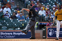 Home plate umpire Mark Hutchinson calls a batter out on strikes during the NCAA baseball game between the Oklahoma Sooners and the Missouri Tigers in game four of the 2020 Shriners Hospitals for Children College Classic at Minute Maid Park on February 29, 2020 in Houston, Texas. The Tigers defeated the Sooners 8-7. (Brian Westerholt/Four Seam Images)