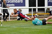 TRY - Luke Hibberd of London Scottish makes it over the line during the Championship Cup match between London Scottish Football Club and Nottingham Rugby at Richmond Athletic Ground, Richmond, United Kingdom on 28 September 2019. Photo by Carlton Myrie / PRiME Media Images