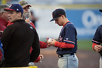 Salem Red Sox second baseman Nick Lovullo (20) signs autographs before the second game of a doubleheader against the Potomac Nationals on May 13, 2017 at G. Richard Pfitzner Stadium in Woodbridge, Virginia.  Potomac defeated Salem 3-2.  (Mike Janes/Four Seam Images)