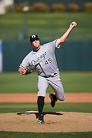 Glendale Desert Dogs pitcher Brian Clark (45), of the Chicago White Sox organization, during a game against the Surprise Saguaros on October 22, 2016 at Surprise Stadium in Surprise, Arizona.  Surprise defeated Glendale 10-8.  (Mike Janes/Four Seam Images)