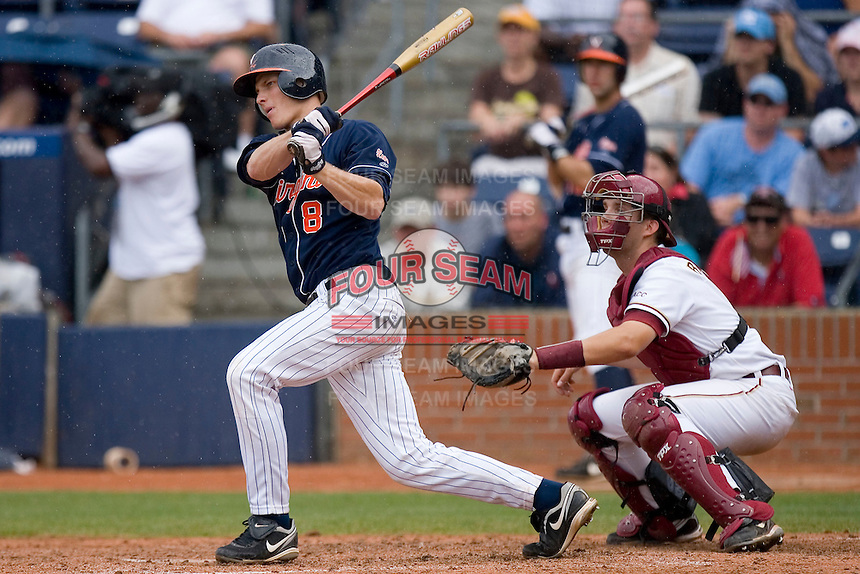 John Hicks #8 of the Virginia Cavaliers follows through on his swing versus the Florida State Seminoles at Durham Bulls Athletic Park May 24, 2009 in Durham, North Carolina. The Virginia Cavaliers defeated the Florida State Seminoles 6-3 to win the 2009 ACC Baseball Championship.  (Photo by Brian Westerholt / Four Seam Images)