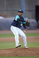 Lynchburg Hillcats relief pitcher Daritzon Feliz (45) in action against the Myrtle Beach Pelicans at Bank of the James Stadium on May 22, 2021 in Lynchburg, Virginia. (Brian Westerholt/Four Seam Images)
