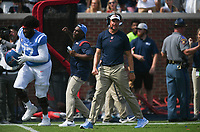 Ole Miss head coach Lane Kiffin reacts, Saturday, October 9, 2021 during the fourth quarter of a football game at Vaught Hemingway Stadium in Oxford, Miss. Check out nwaonline.com/211010Daily/ for today's photo gallery. <br /> (NWA Democrat-Gazette/Charlie Kaijo)