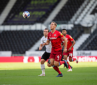 12th September 2020; Pride Park, Derby, East Midlands; English Championship Football, Derby County versus Reading; Michael Morrison of Reading and Jack Marriott of Derby County chasing down the through ball