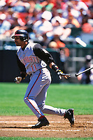 SAN FRANCISCO, CA - Barry Larkin of the Cincinnati Reds bats during a game against the San Francisco Giants at Candlestick Park in San Francisco, California on July 25, 1999. (Photo by Brad Mangin)