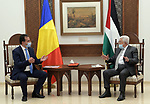 Palestinian President Mahmoud Abbas, meets with Romanian Prime Minister Ludvik Orban, in the West Bank city of Ramallah, on November 4, 2020. Photo by Thaer Ganaim