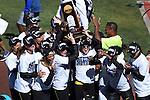 13 JUNE 2015: The Oregon women's team celebrates after winning the NCAA Track and Field team Championship during the Division I Men's and Women's Outdoor Track & Field Championship held at Hayward Field in Eugene, OR. Steve Dykes/ NCAA Photos
