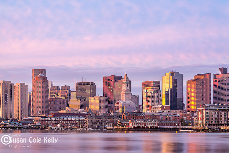 Sunrise on the Boston Harbor waterfront, Boston, Massachusetts, USA