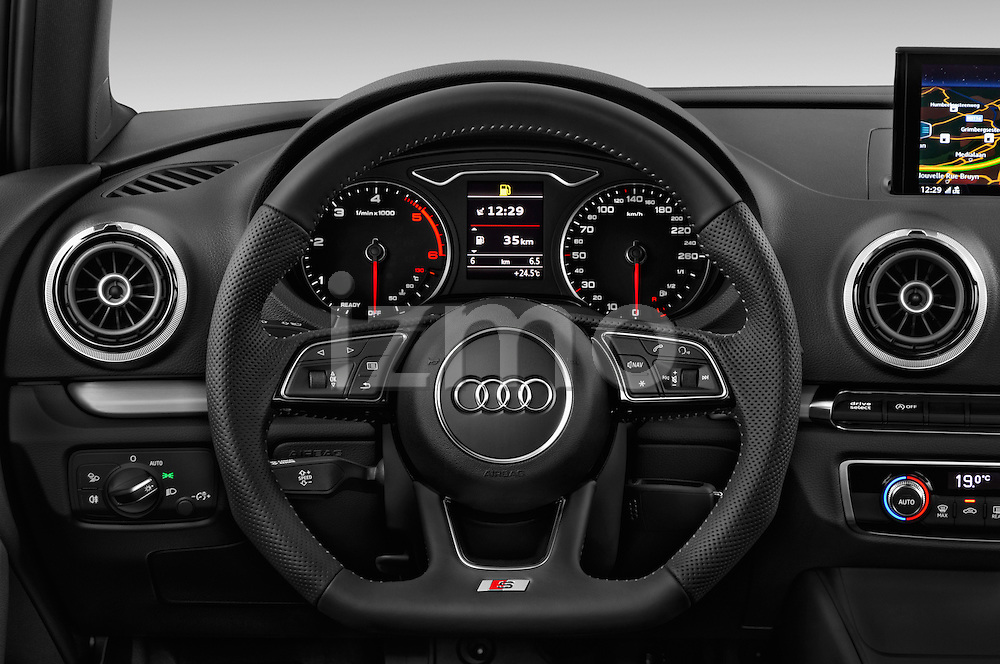 Car pictures of steering wheel view of a 2017 Audi A3 Sport 3 Door Hatchback Steering Wheel