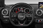 Car pictures of steering wheel view of a 2017 Audi A3 Sport 3 Door Hatchback Steering Wheel
