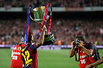 Barcelona´s Rafinha celebrates after winning the 2014-15 Copa del Rey final match against Athletic de Bilbao at Camp Nou stadium in Barcelona, Spain. May 30, 2015. (ALTERPHOTOS/Victor Blanco)