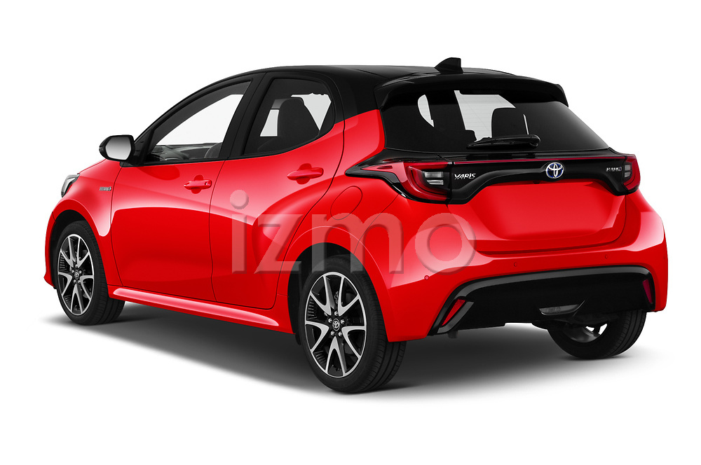 Car pictures of rear three quarter view of 2020 Toyota Yaris Premier 5 Door Hatchback Angular Rear