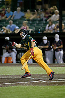 Normal Cornbelters Tate Matheny bats during a game against the O'Fallon Hoots on July 25, 2020 at CarShield Field in O'Fallon, Missouri.  Matheny, a Boston Red Sox prospect, was able to play with the Cornbelters due to the MiLB season being cancelled due to COVID-19.  (Travis Berg/Four Seam Images)
