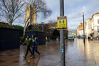 Pictured: The almost deserted Working Street in Cardiff, Wales, UK. Friday 8th January 2021<br /> Re: The whole of Wales in in Tier 4 due to rising Covid-19 Coronavirus cases, Cardiff, Wales, UK.