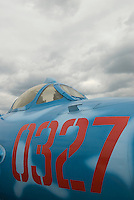 Vintage Soviet Fighter Jet - MiG-17 (first built in 1950), this airplane was built in Poland and is painted as camouflaged for the North Vietnamese Air Force during the Vietnam War<br /> <br /> Intrepid Sea, Air and Space Museum, New York City, New York State, USA