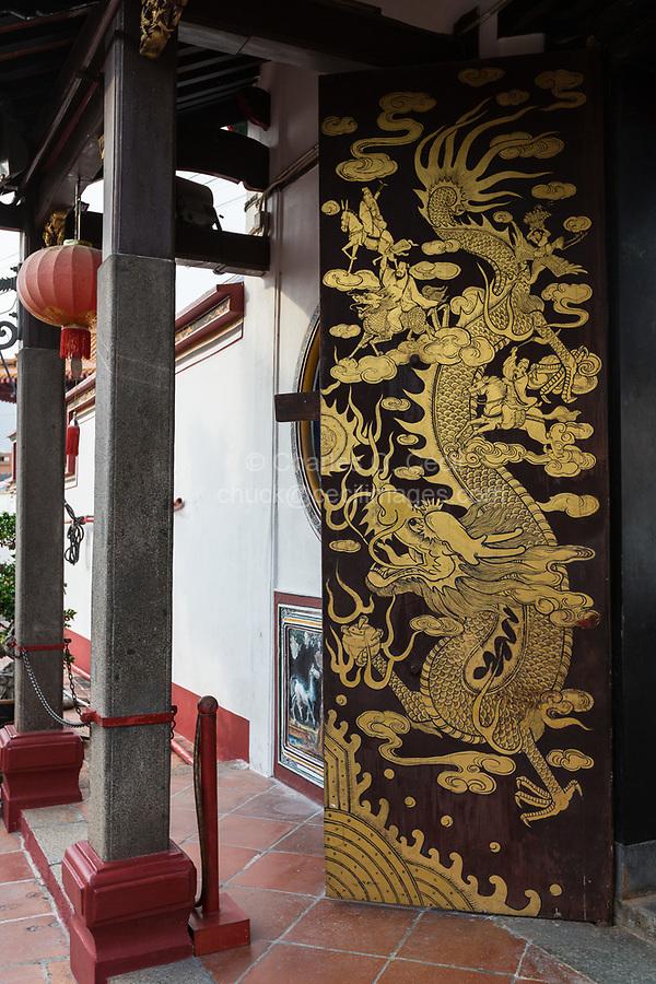 Dragon on Doorway, Siang Lin See (Xiang Lin Si) Mahayana Buddhist Temple, Melaka, Malaysia.