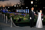 Tokyo, Japan - (L to R) The Chairman Nakamura and the London Olympic silver medalist for weight lifting, Hiromi Miyake at the opening ceremony of the Tokyo Michiterasu 2013, in front of Tokyo Station on December 24, 2013. The illumination of this year presents the light wheels on light railway and the light train windows. The event starts from December 24th to 29th at around Tokyo Station. (Photo by Rodrigo Reyes Marin/AFLO)
