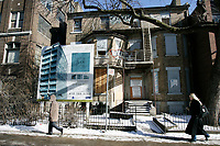 January 22, 2005, Toronto (Ontario) CANADA<br /> An abandoned building will soon give place to a modern condo building in downtown   in Toronto, canada<br /> Photo (c) 2005 P Roussel / Images Distribution