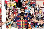 FC Barcelona's Luis Suarez (l) and Neymar Santos Jr celebrate goal during La Liga match. May 14,2016. (ALTERPHOTOS/Acero)