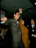 Montreal (QC)CANADA - March 1983 File Photo<br /> <br /> Liberal Provincial Leader Robert Bourassa, Louise Robic
