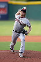 Starting pitcher Zak Kent (11) of the Hickory Crawdads in a game against the Greenville Drive on Friday, June 18, 2021, at Fluor Field at the West End in Greenville, South Carolina. (Tom Priddy/Four Seam Images)