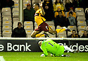 10/11/2010   Copyright  Pic : James Stewart.sct_jspa013_motherwell_v_st_johnstone  .:: PETER ENCKELMAN ESCAPES WITH A YELLOW CARD AFTER HIS LATE CHALLENGE ON CHRIS HUMPHREY   ::.James Stewart Photography 19 Carronlea Drive, Falkirk. FK2 8DN      Vat Reg No. 607 6932 25.Telephone      : +44 (0)1324 570291 .Mobile              : +44 (0)7721 416997.E-mail  :  jim@jspa.co.uk.If you require further information then contact Jim Stewart on any of the numbers above.........
