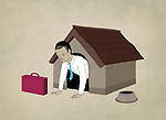 Illustrative image of businessman in dog house representing unemployment