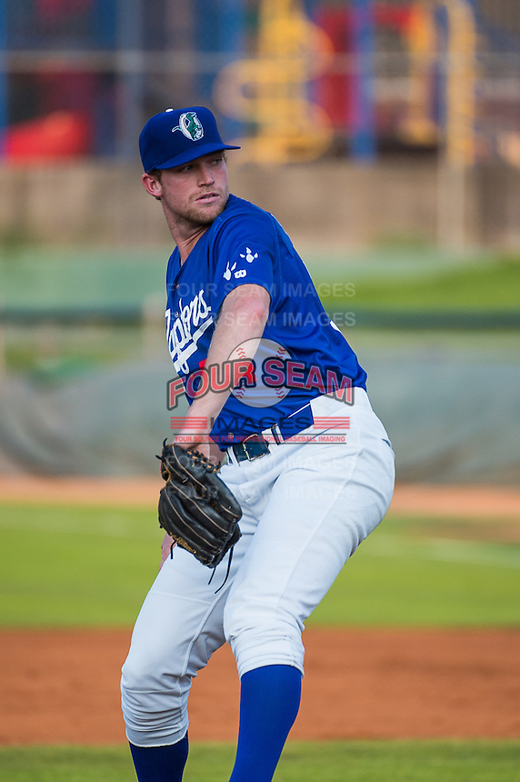 Ogden Raptors starting pitcher Kevin Brown (54) delivers a pitch to the plate against the Helena Brewers in Pioneer League action at Lindquist Field on August 19, 2015 in Ogden, Utah. Ogden defeated Helena 4-2.   (Stephen Smith/Four Seam Images)
