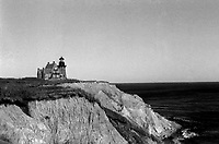 A black and white photograph of Block Island's Southeast Lighthouse