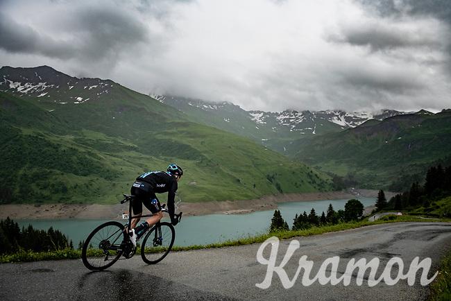 Casper Pedersen (DEN/DSM) descending the Col du Pré (HC/1748m) towards the Barrage de Roselend in, yet again, grim conditions.<br /> <br /> Stage 9 from Cluses to Tignes (145km)<br /> 108th Tour de France 2021 (2.UWT)<br /> <br /> ©kramon