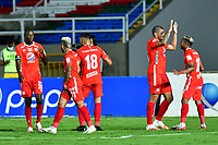 CALI – COLOMBIA, 15-11-2020: Juan Pablo Segovia de América celebra después de anotar el primer gol de su equipo durante el partido entre América de Cali y La Equidad por la fecha 20 de la Liga BetPlay DIMAYOR I 2020 jugado en el estadio Pascual Guerrero de la ciudad de Cali. / Juan Pablo Segovia of America celebrates after scoring the first goal of his team during match between America de Cali and La Equidad for the date 20 as part of BetPlay DIMAYOR League I 2020 played at the Pascual Guerrero stadium in Cali city. Photos: VizzorImage / Nelson Rios / Cont.